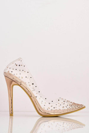 Rose Gold Pointed Perspex Stiletto Heels with Diamantes