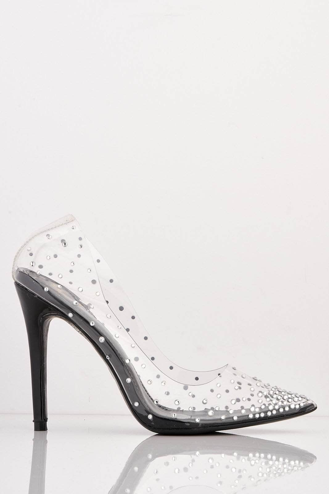 Black Pointed Perspex Stiletto Heels with Diamantes