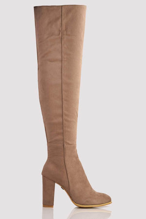Taupe Faux Suede Knee High Boots