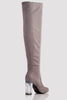 Grey Suede Knee High Boots with Perspex Block Heel