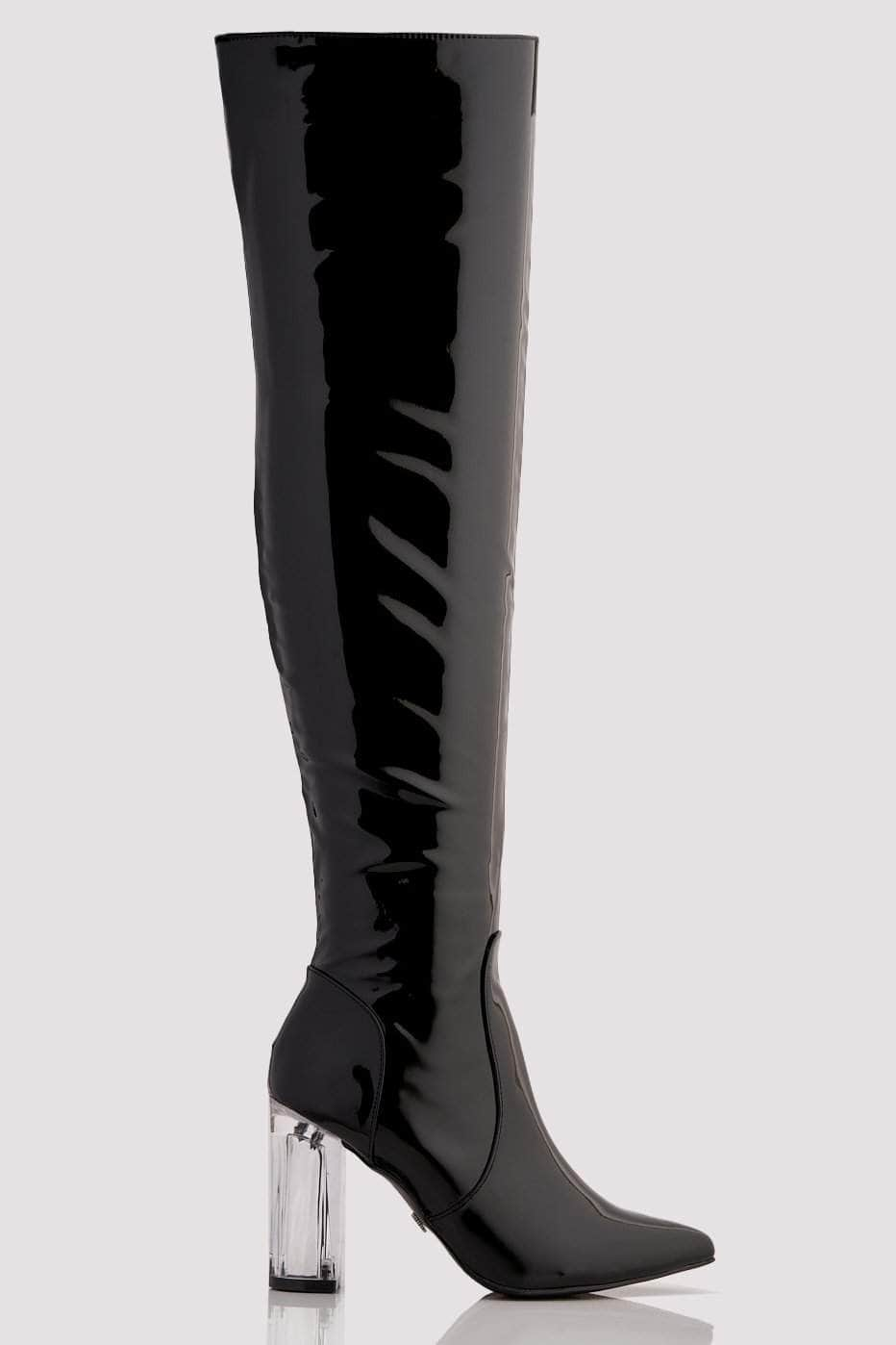 Black Patent Knee High Boots with Perspex Block Heel