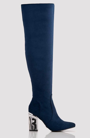 Navy Suede Pointed Knee High Boots