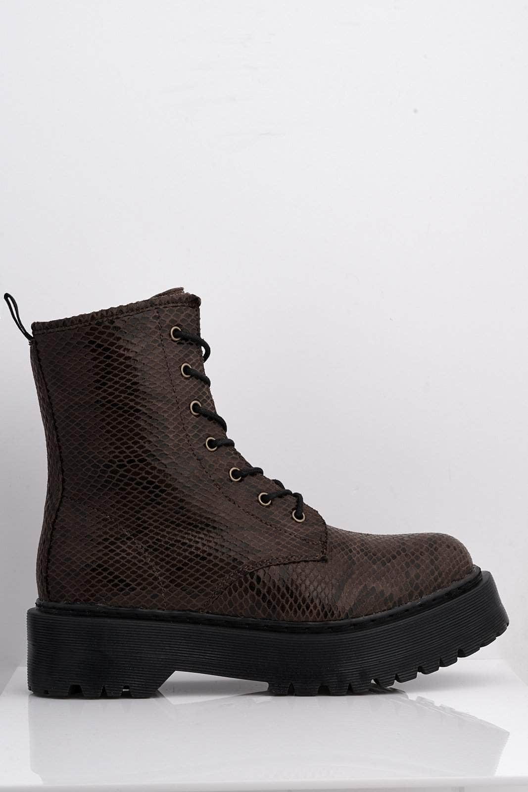 Brown Snake Pu Lace Up Calf Boots