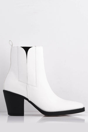 White Pu Western Pointed Ankle Boots