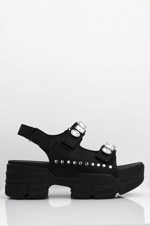 Gem Embellished Black Pu Chunky Sports Sandals