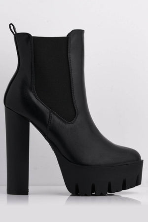 Chunky Black Platform Boots with Block Heel