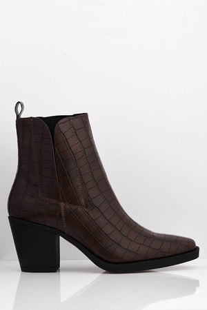 Brown Croc Pu Stretch Ankle Boots