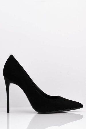 Black Faux Suede Pointed Court Heels