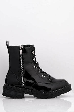 Black Patent Lace Up Boots with Silver Studs