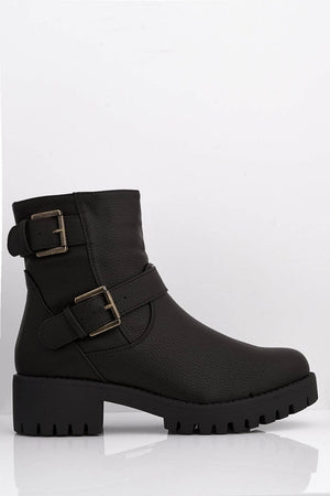 Brown Pu Double Buckled Ankle Boots