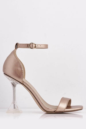 Rose Gold Pu & Perspex Mid Flare Heel