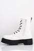 White Pu Chunky Contrast Lace Up Boots