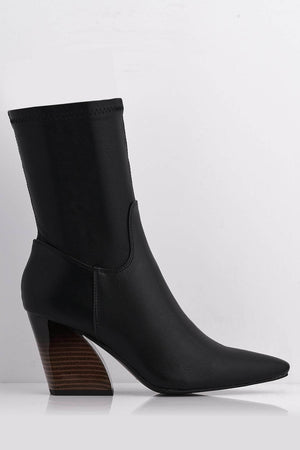 Black Pu Stretch Pointed Boots with Gloss Angled Heel