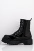 Black Patent Pu Lace Up Boots
