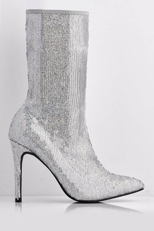 Silver Sequin Pointed Calf Boots with Stiletto Heel