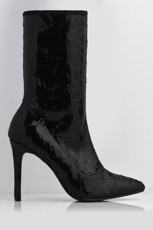 Black Sequin Pointed Calf Boots with Stiletto Heel