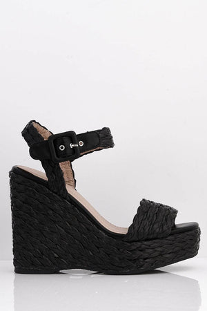 Black Pu Weave Platform Wedge Sandals