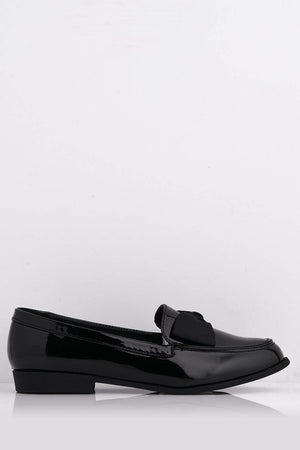 Black Patent Slip on Flat Shoes