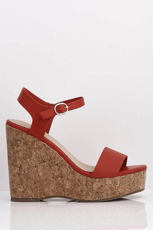 Red Pu Platform Sandals with Cork Wedge Heel