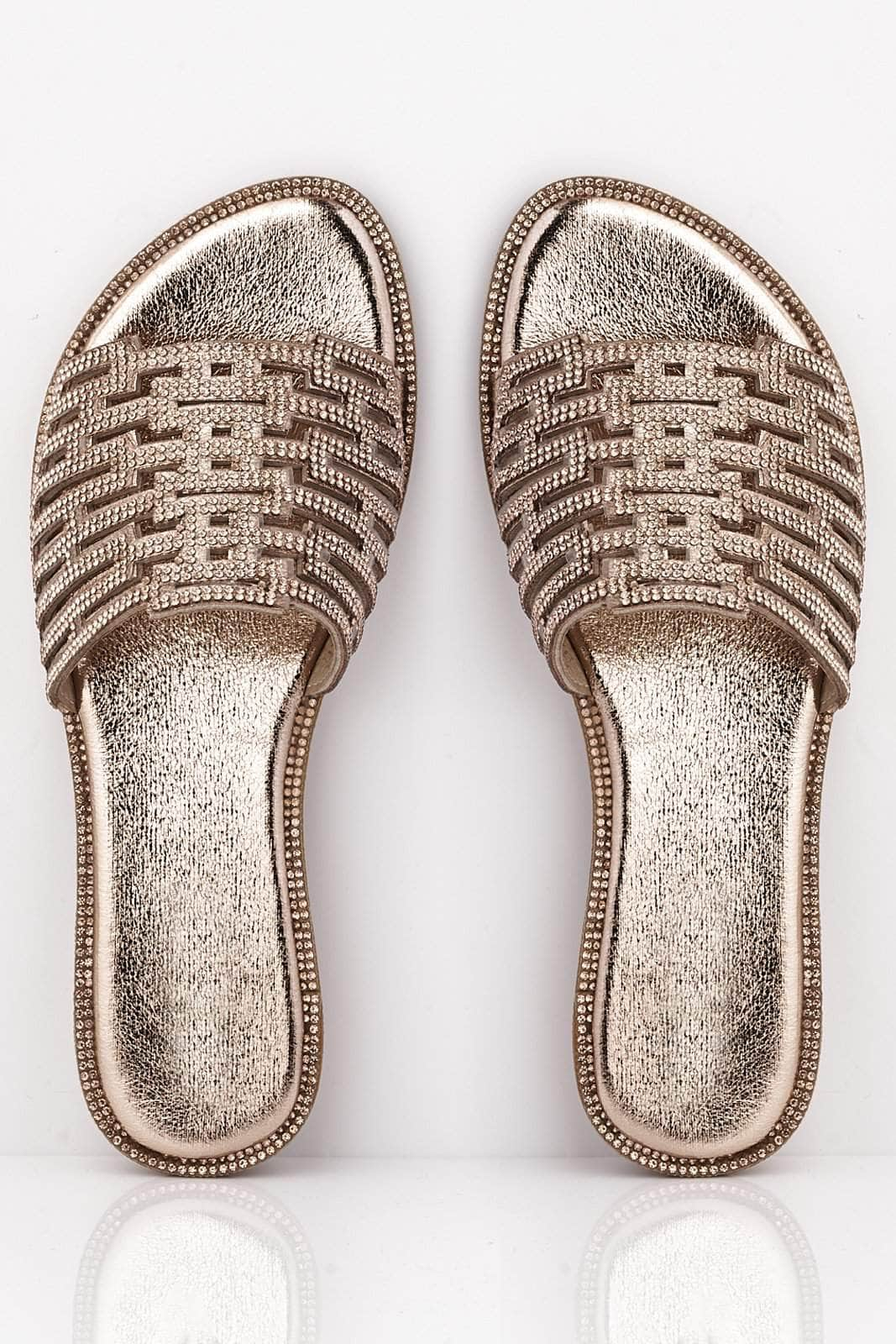 Champagne Pu Cut Out Diamante Embellished Sliders