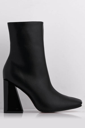 Black Pu Pointed Boots with Angled Gloss Heel