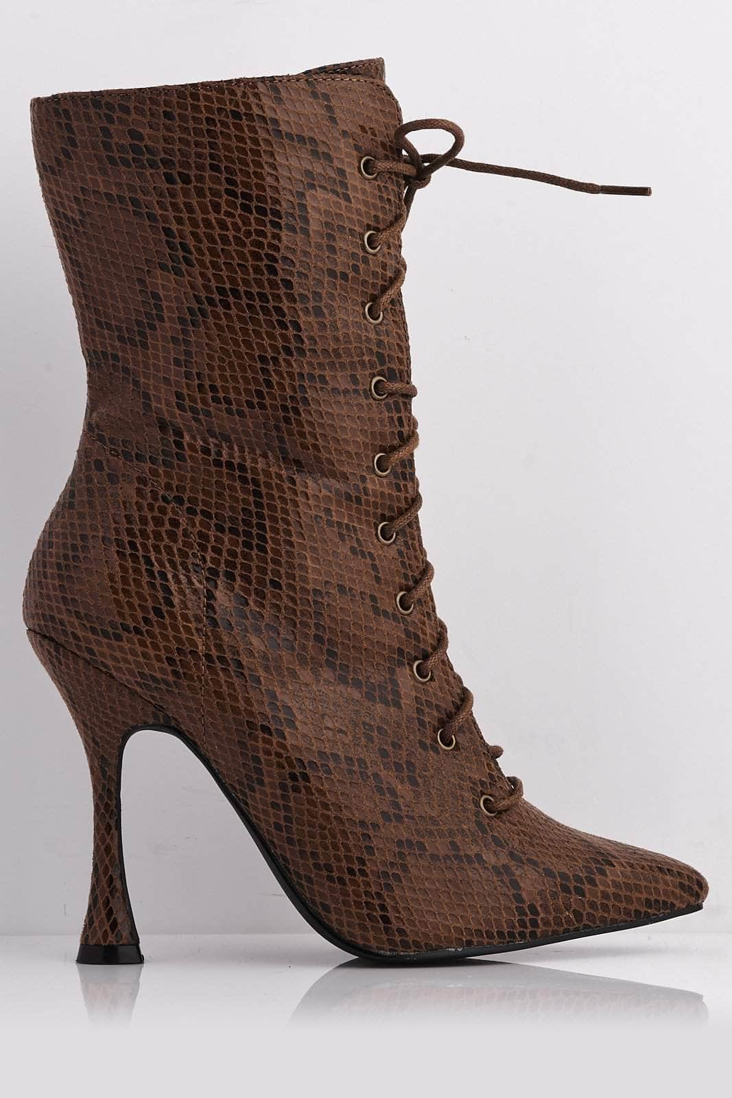 Brown Snake Pu Pointed Lace Up Boots