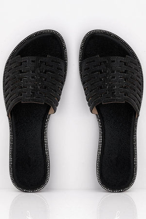 Black Pu Cut Out Diamante Embellished Sliders