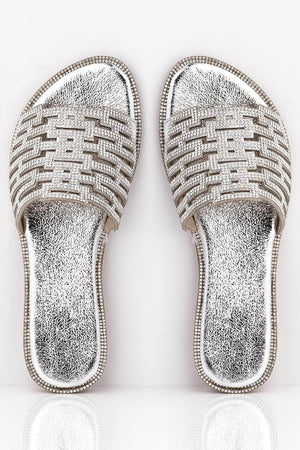 Silver Pu Cut Out Diamante Embellished Sliders