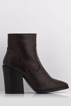 Dark Brown Snake Pu Pointed Ankle Boots