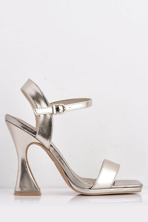 Gold Pu Square Heels with Midi Flare Heel