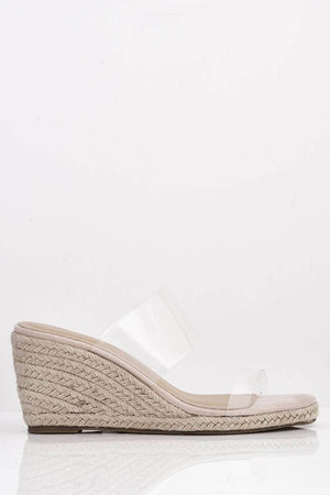 Nude Espadrille Mule Wedges with Perspex Straps