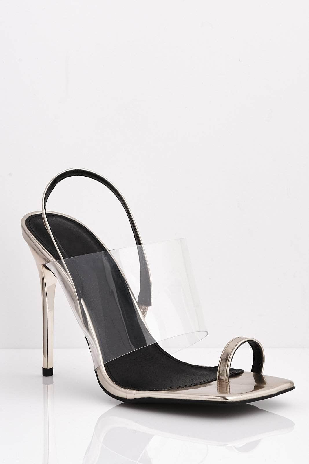 Gold Pu Square Perspex Heels with Toe Ring
