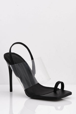 Black Pu Square Perspex Heels with Toe Ring