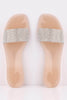 Nude Diamante Embellished PVC Sliders