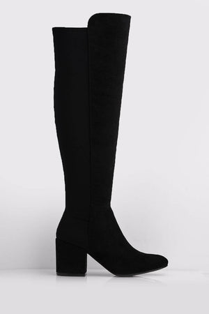 Black Micro & Lycra Stretch Knee High Boots