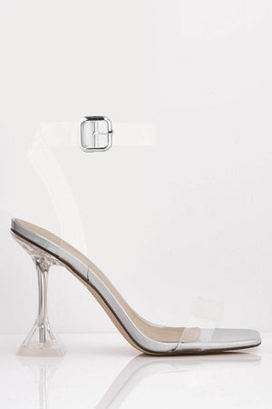 Silver Iridescent Pu & Perspex Mid Flare Heels