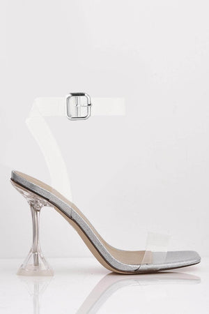 Silver Patent Glitter & Perspex Mid Flare Heels