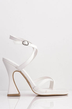 White Snake Pu Cross Over Strap Mid Flare Heels