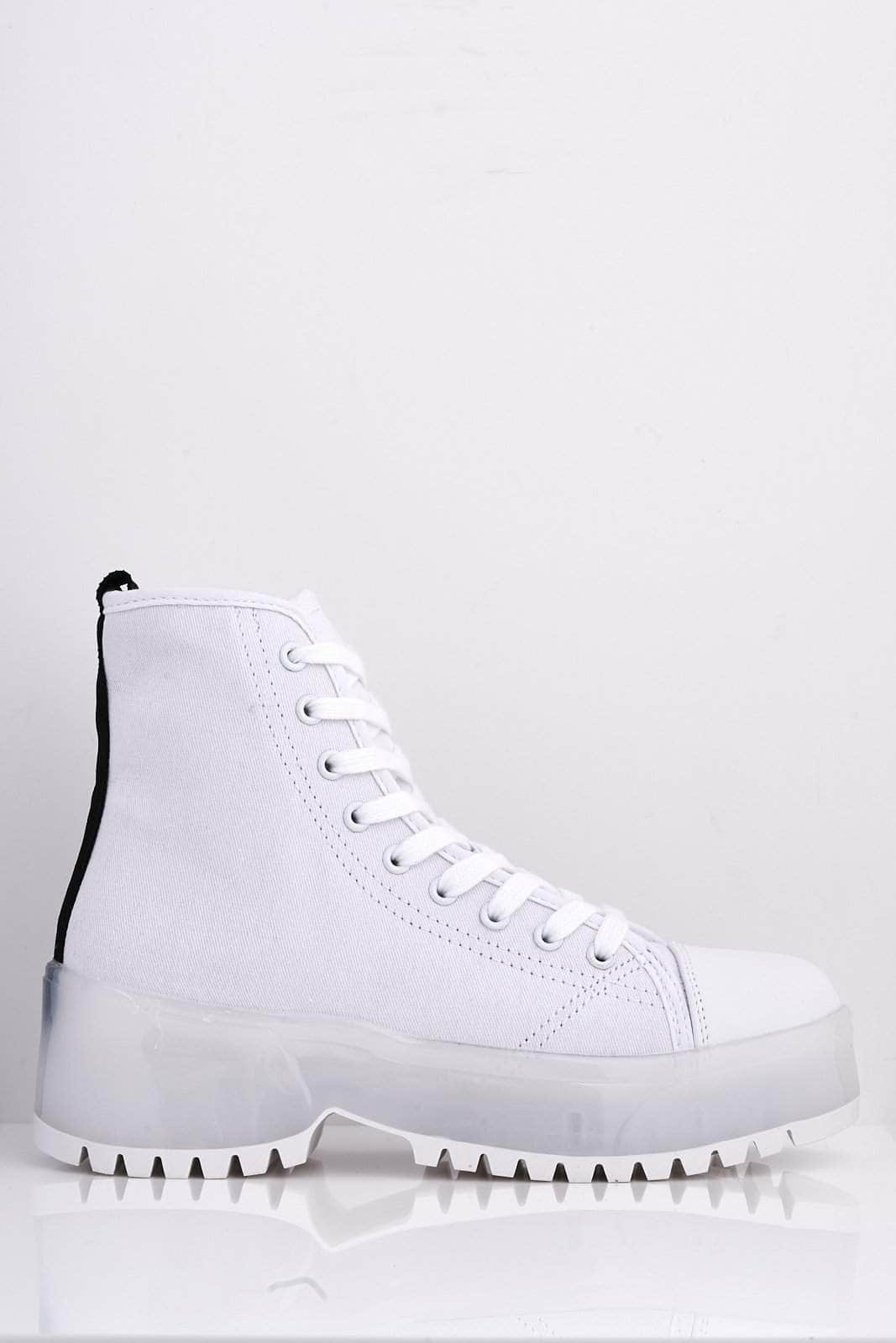 White Canvas High Top Trainers with Clear Heel