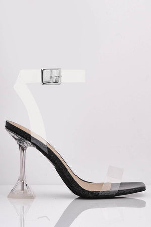 Black Glitter & Perspex Square Heels with Mid Flare Heel