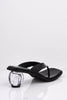 Black Patent Flip Flop Mules with Ball Heel