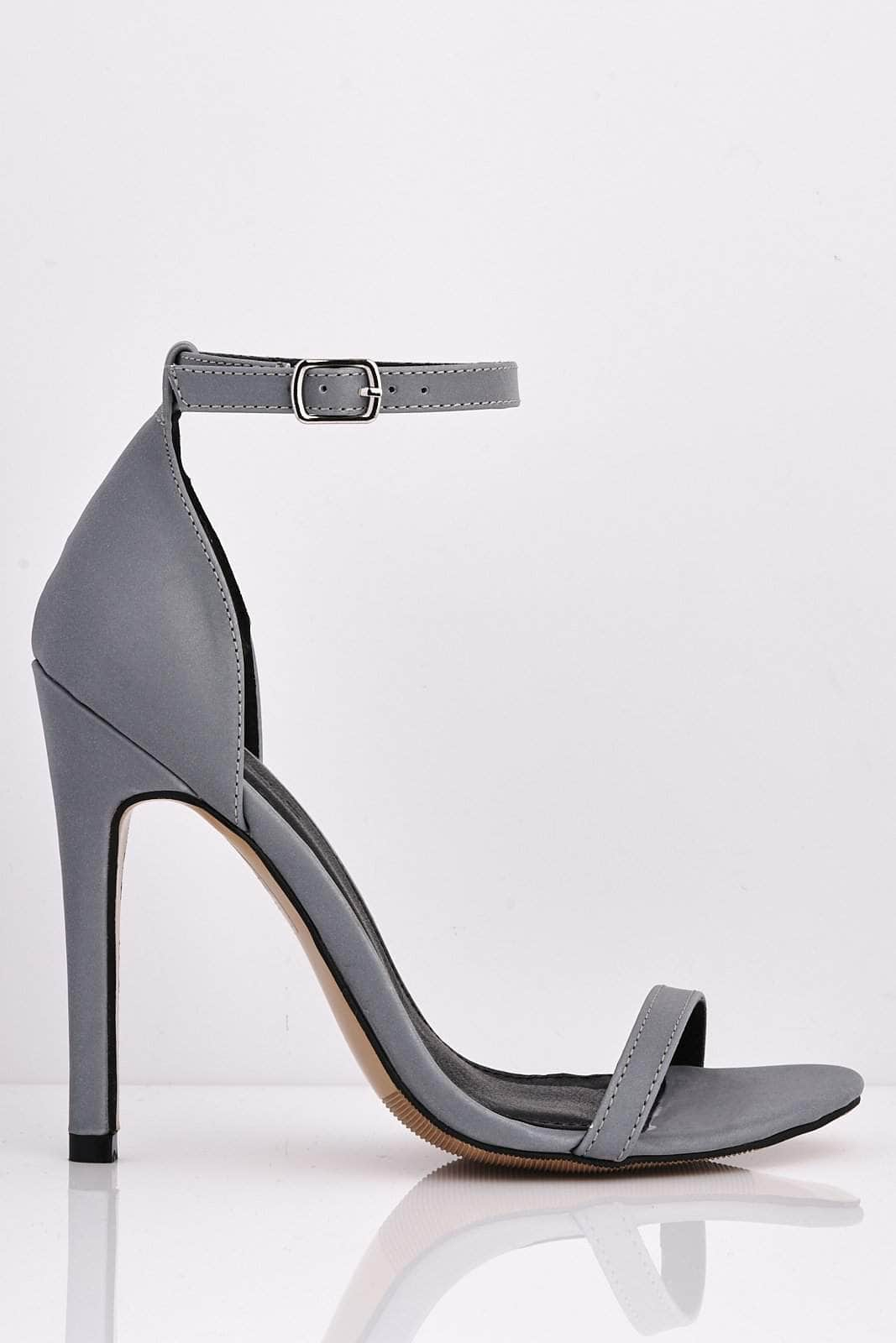 Grey Reflective Open Toe Heels