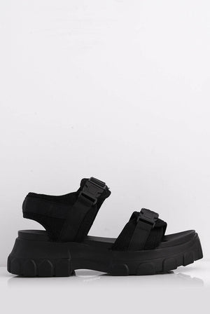 Black Open Toe Sports Sandal with Double Seat Belt