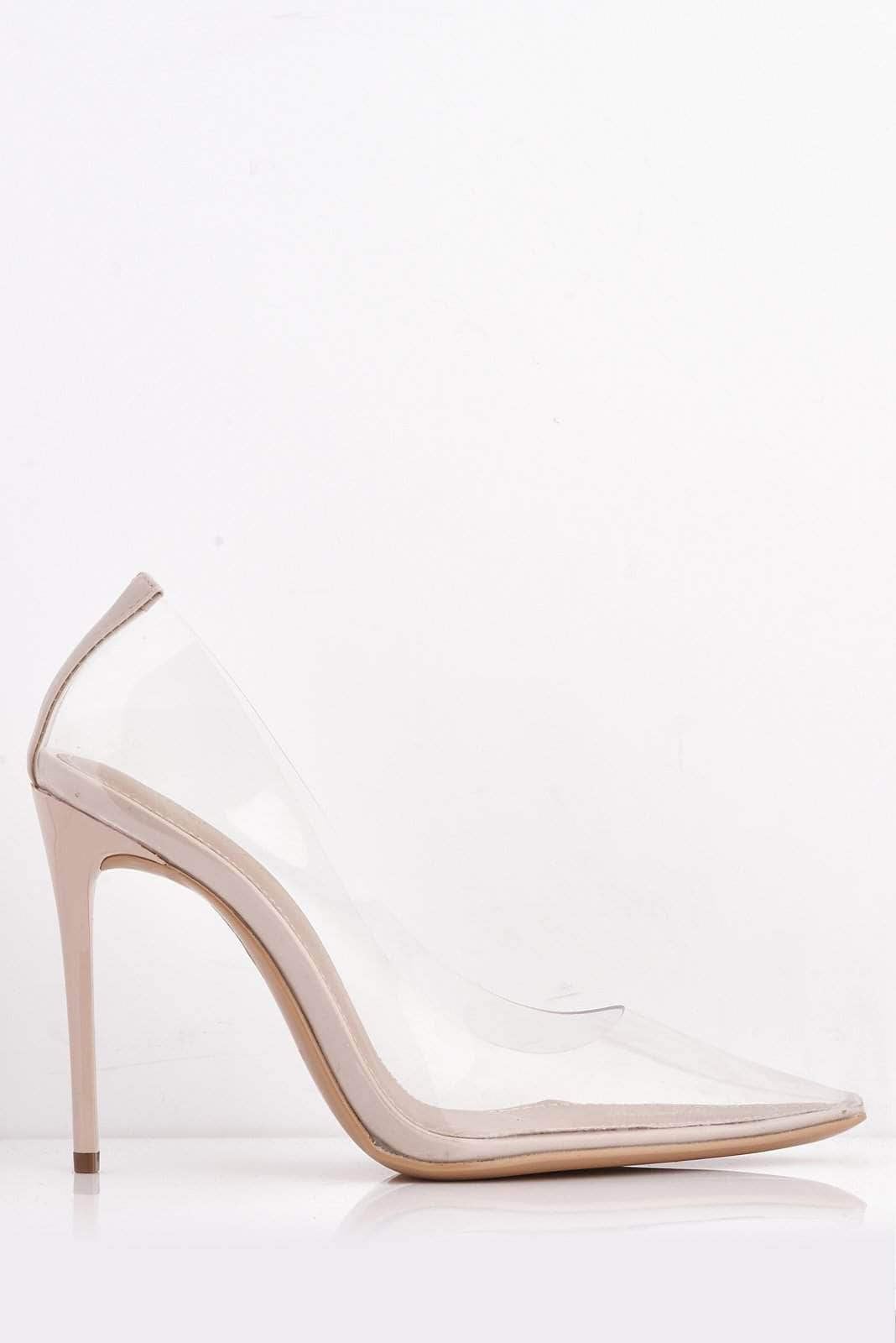 Perspex Clear Pointed & Nude Pu Stiletto Heels