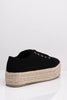 Black Canvas Lace Up Straw Espadrilles