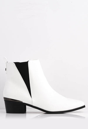 White Croc Pu Pointed Ankle Boots with Stretch Insert