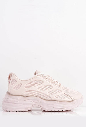 Pink Knitted & Pu Cut Out Chunky Trainers