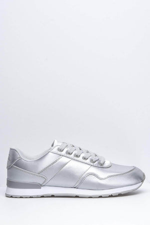Grey Satin Reflex Trainers