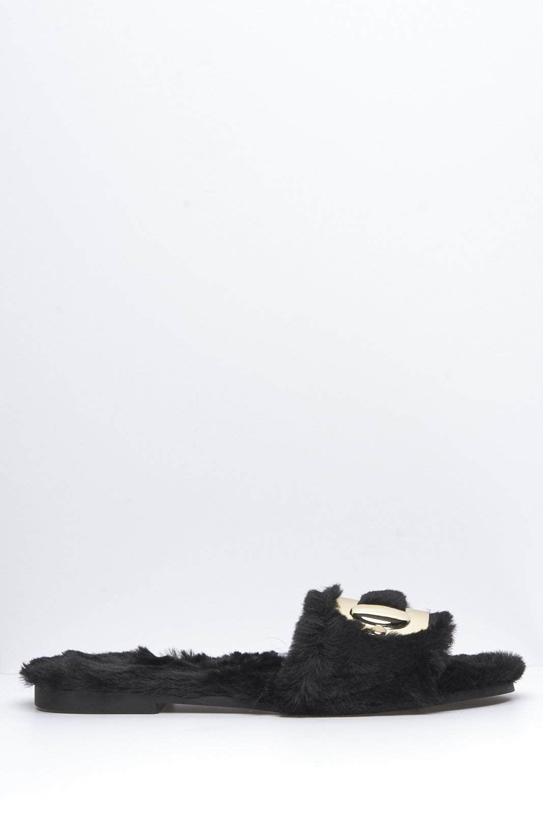 Black Faux Fur Sliders with Gold Buckle
