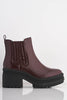 Burgundy Patent Chunky Boots